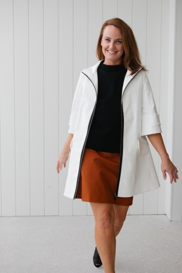 Cue Zip Front Parka Cue Stretch Cotton A-line Skirt Cue Milano Funnel Neck Tank www.cue.cc